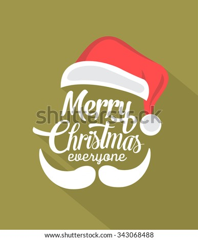 Christmas Typographic Background With Long Shadow / Merry Christmas / Santa - stock vector