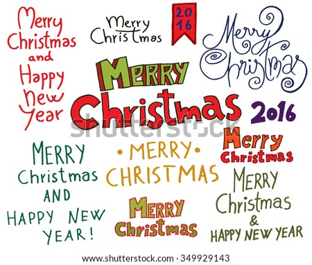 Christmas Typographic Doodle Set. Merry Christmas And Happy New Year