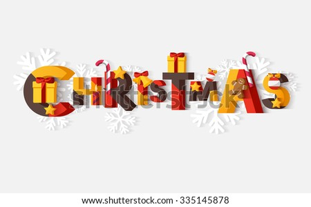 Christmas typographic poster - stock vector