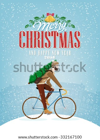 Christmas Typographical Background With Bicycle - stock vector