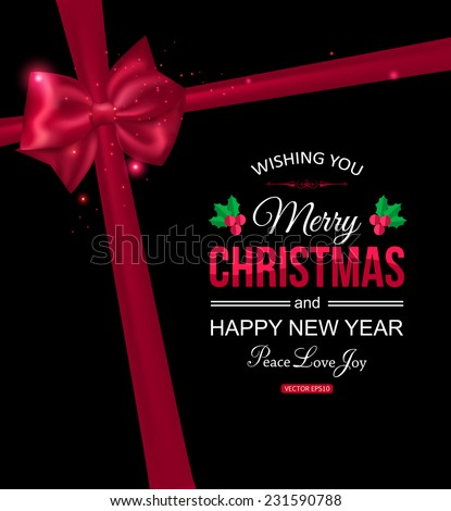 Christmas typographical background with red bow and place for text. Vector illustration. - stock vector