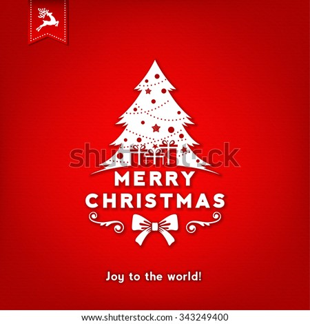 Christmas Typographical Red Background With Christmas Tree - stock vector
