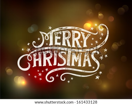 Christmas typography, handwriting  - stock vector