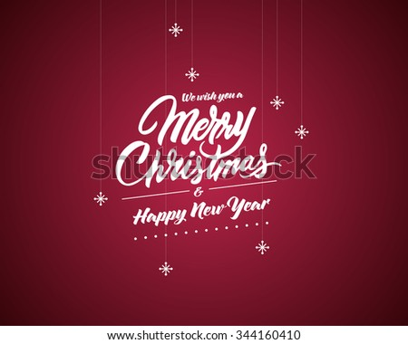 Christmas typography, handwriting with star - stock vector