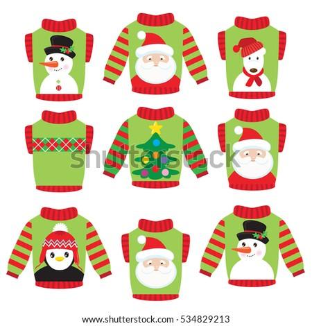 Christmas Ugly Sweater Vector Cartoon Illustration Stock ...