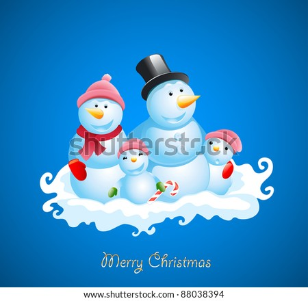 Christmas vector background. Happy snowman - stock vector