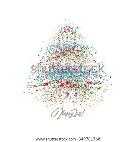 Christmas vector background with colorful splash. - stock vector