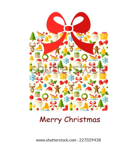 Christmas vector background with flat icons. Christmas gift box. - stock vector