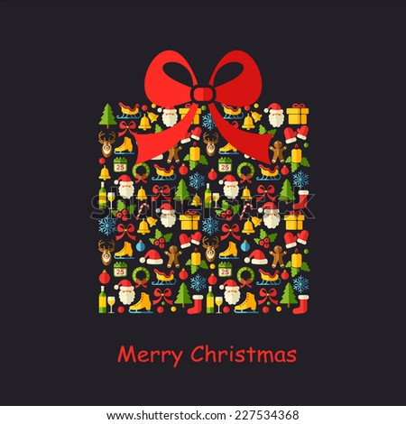 Christmas vector background with flat icons. Christmas gift box on the black background.  - stock vector