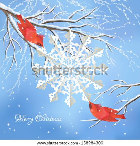 Christmas vector background with red birds waxwings, white snowflake cut from paper, snow-covered frozen tree branches, snowfall, text Merry Christmas on blue backdrop. Winter landscape greeting card - stock vector
