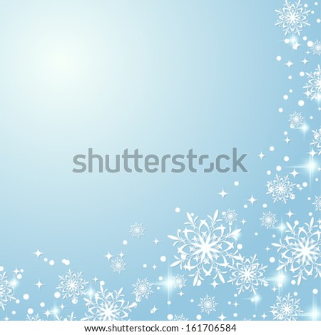 Christmas vector background with stars and snowflakes - stock vector