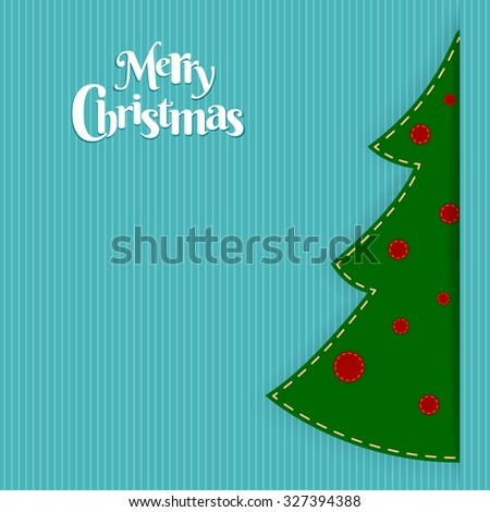 Christmas vector blue stripes background with christmas green tree ...