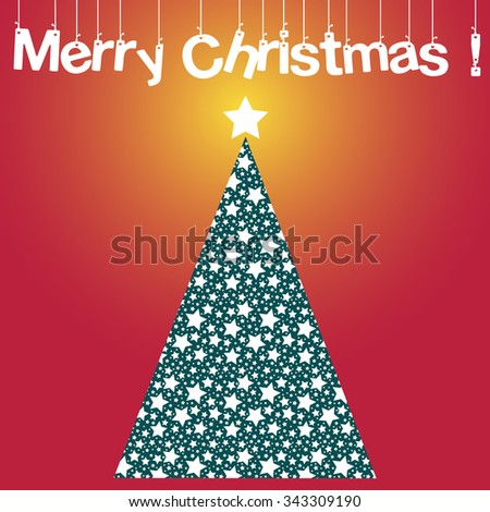 Christmas vector card with a christmas tree and a shining star