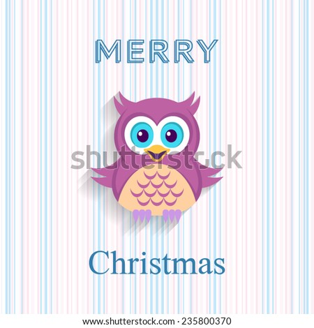 Christmas vector card with cute owl and stripes - stock vector