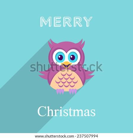 Christmas vector card with cute owl long shadow - stock vector