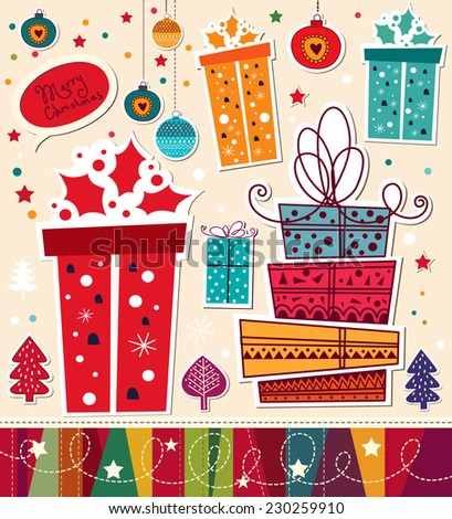 Christmas vector card with gifts - stock vector