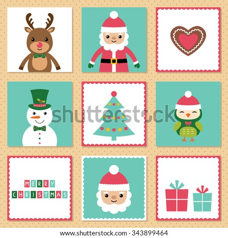 Christmas vector cards set