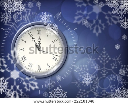 Christmas vector clock over abstract snowy dark blue background - stock vector