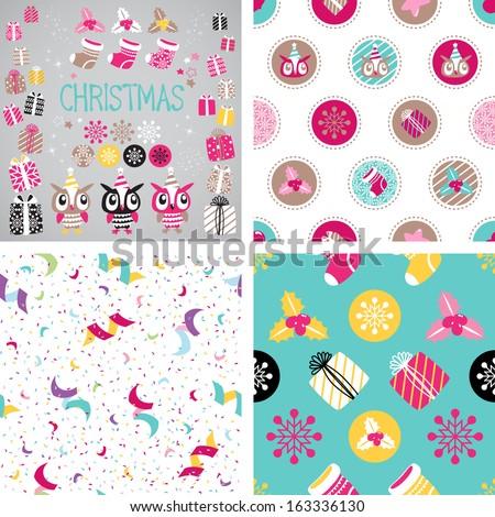 Christmas vector elements set for festive design. Seamless background. Gift, Snowflake, Serpentine, Ostrolist, Christmas sock, Star, Cute Owl - stock vector