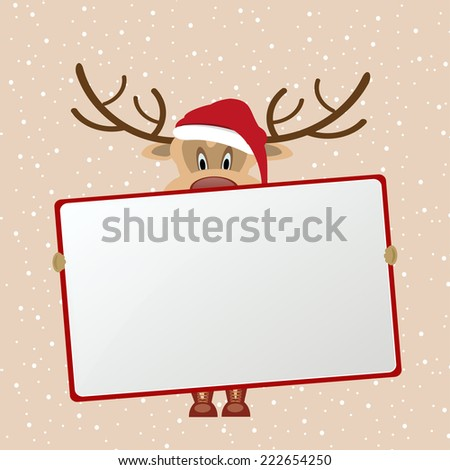 christmas vector eps10 design in red and beige / button icon sign shield frame / cute cartoon reindeer santa - stock vector