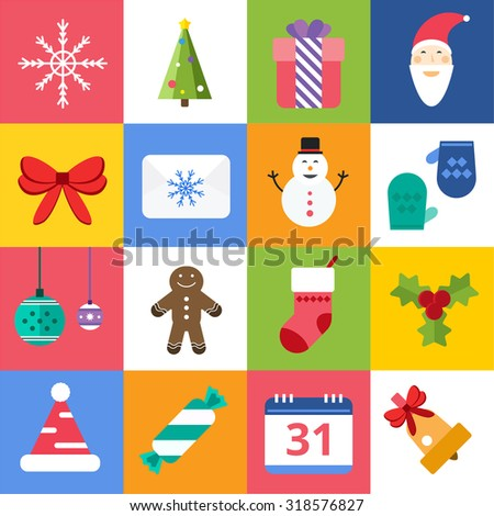 Christmas vector icons set. Christmas tree, Christmas ball, Christmas letter, Christmas Santa, Christmas cake. Christmas Gift, socks, ball, snowflake, Christmas Decoration symbols. 2016 New Year icons