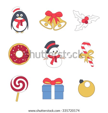 Christmas vector icons set. Penguin in scarf, snowman in the cylinder, Christmas ball, gift, surprise, sweet donut, caramel with bow, holiday berries, Christmas bells