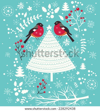 Christmas vector illustration. Holiday greeting card - stock vector