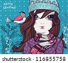 Christmas vector illustration of  a  pretty girl  with a little bird - stock