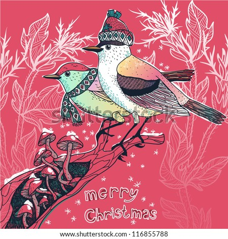 Christmas vector illustration of  colored  birds in a  winter forest - stock vector