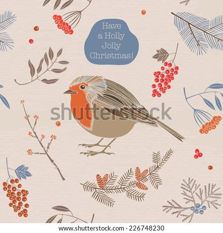 Christmas vector illustration. Robin bird with ash berries. Holidays greeting card. - stock vector