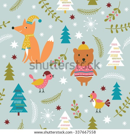 Christmas vector illustration, seamless Christmas pattern - stock vector