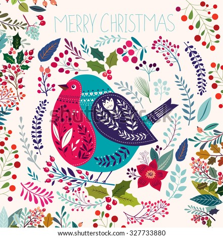 Christmas vector illustration with bullfinch. - stock vector