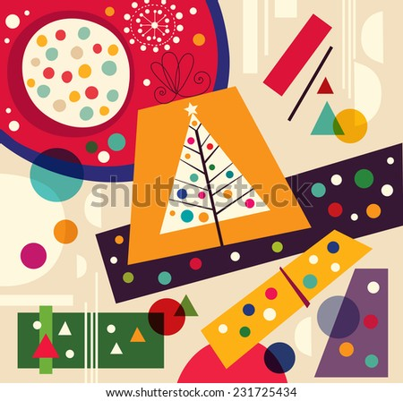 Christmas vector illustration with gift boxes - stock vector