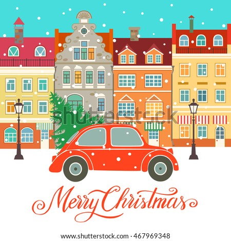 Christmas vector illustration with town, christmas tree, car and snow. Background for greeting card, invitation.