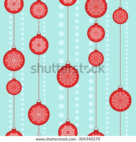Christmas vector image. Seamless pattern with red Christmas balls on blue background. - stock vector