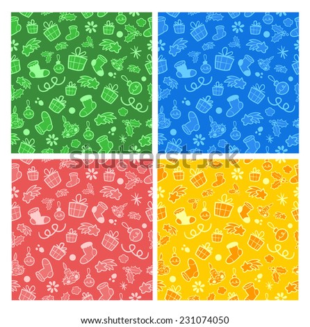 Christmas vector objects seamless pattern in four colors (blue, green, yellow and red background with christmas parafrenalia) - stock vector
