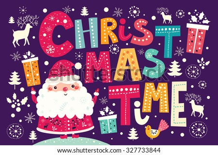 Christmas vector postcard with Santa Claus and gifts - stock vector
