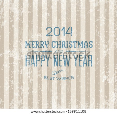 Christmas vector retro greeting card. Vintage striped wallpaper background texture. Weathered old paper. Festive typography. Merry christmas and happy new year - stock vector