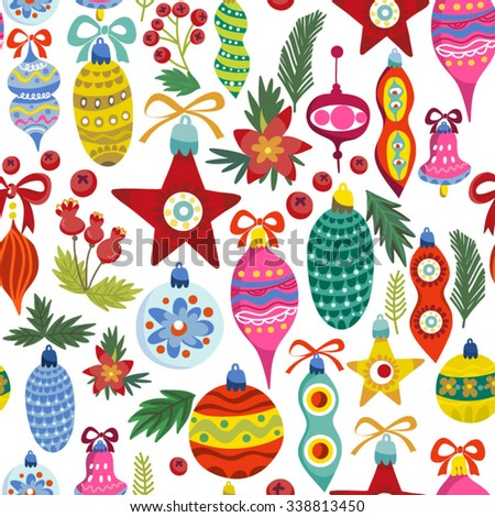 Christmas vector seamless pattern in bright colors. Perfect for greeting cards, wrapping paper, blogs, packing and ect.  - stock vector