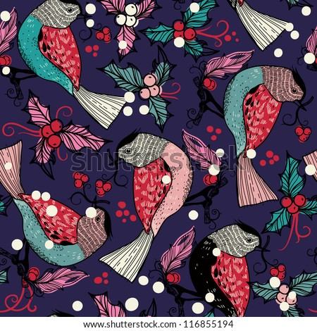 Christmas vector seamless pattern with colored birds and berries