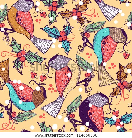 Christmas vector seamless pattern with colored birds and holly berries - stock vector