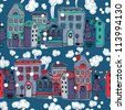 Christmas vector seamless pattern with colored decorated houses - stock vector