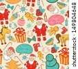 Christmas vector seamless pattern with doodle elements - stock
