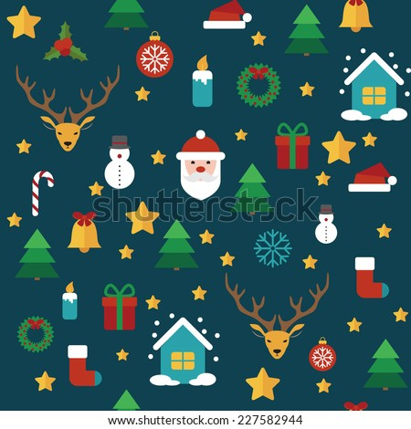 Christmas vector seamless pattern with flat elements on background - stock vector