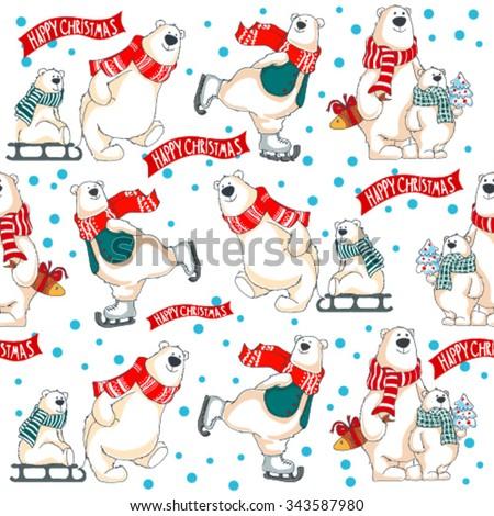 Christmas vector seamless pattern with polar bears - stock vector