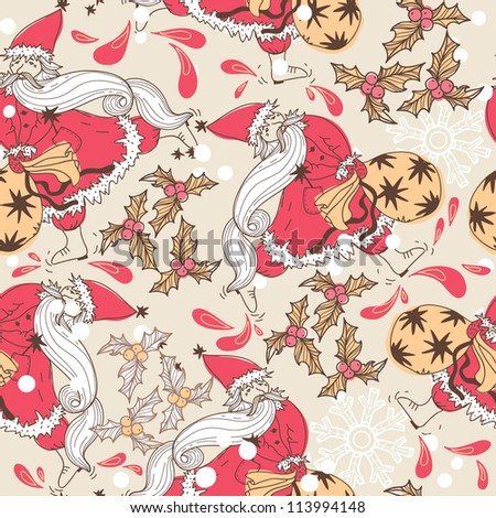 Christmas vector seamless pattern with Santa and holly berries - stock vector
