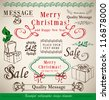 christmas vector set: calligraphic floral  design elements and page decoration - lots of useful elements to embellish your layout - stock vector