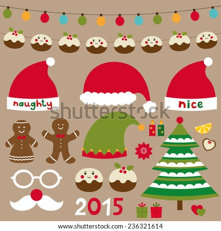 Christmas vector set - design elements, decoration, Santa and and elf hats - stock vector