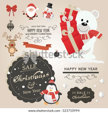 Christmas vector set - labels, emblems and other decorative elements. Cute Santa Claus and friends - stock vector