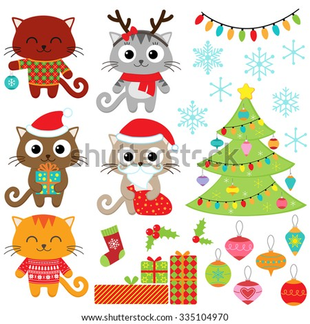 Christmas vector set of cats in costumes, gifts, tree, ornaments and snowflakes - stock vector